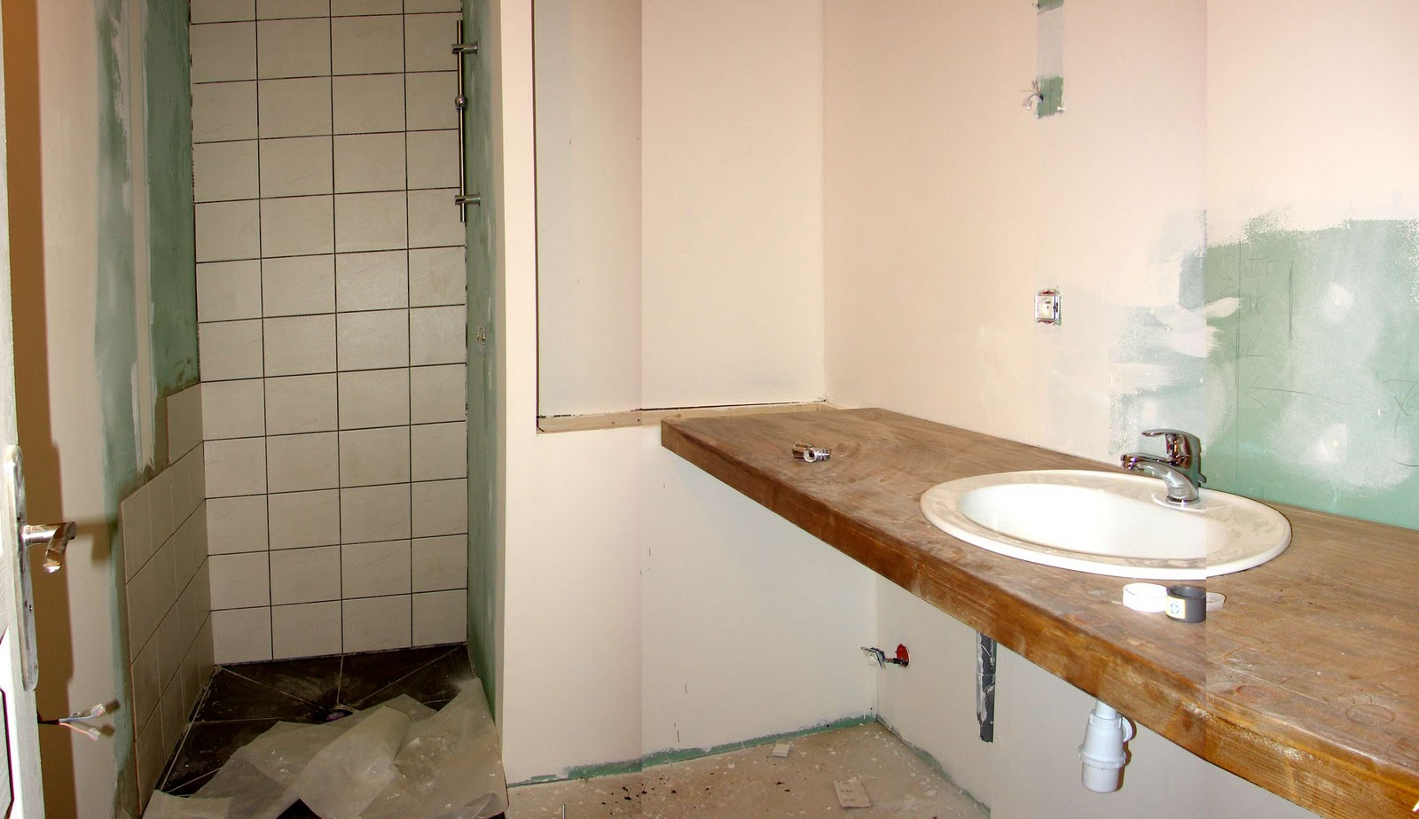 Eiken Werkblad Badkamer : Houten blad badkamer