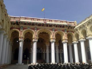 Thirumalai Nayakkar Palace pillars with Flag,