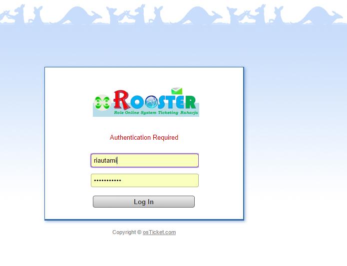 Tampilan Form Login Sistem ROOSTER