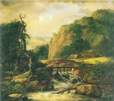 Johan Christian Dahl - Norsk landskap med bro.
