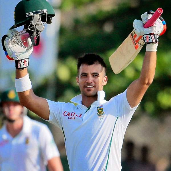 South African cricketer Jean-Paul Duminy celebrates scoring a century during the second day of the first test cricket match between Sri Lanka and South Africa in Galle, Sri Lanka, Thursday, July 17, 2014.