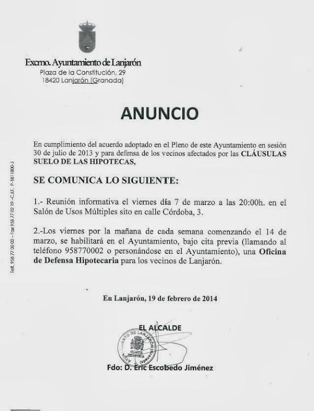 CLÁUSULAS SUELO DE LAS HIPOTECAS