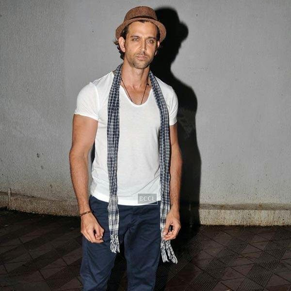 Hrithik Roshan arrives for the wrap-party of Bollywood movie Mary Kom, held at Sanjay Leela Bhansali's residence on July 26, 2014.(Pic: Viral Bhayani)