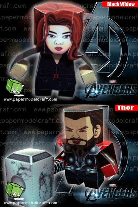 Thor Black Widow Paper Toy