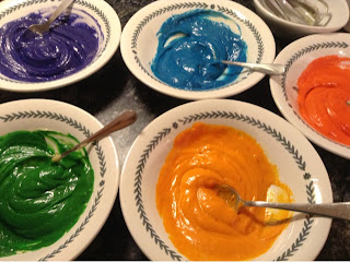 gel colours mixed into sponge mix