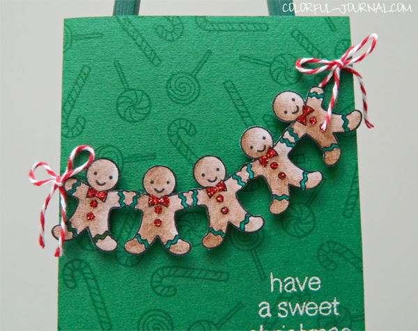 gingerbread man Christmas stamp set Lawn Fawn Sweet Christmas green red glitter