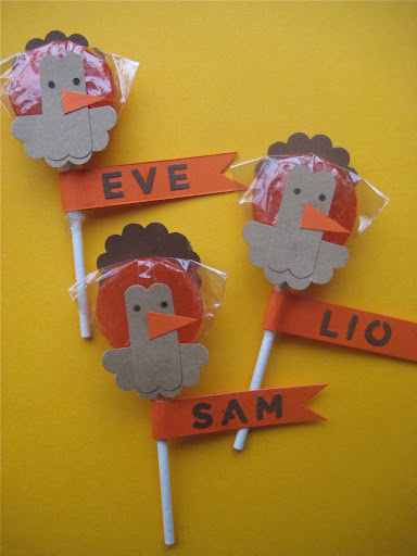 Turkey lollipop favors...or place cards for the kids table.