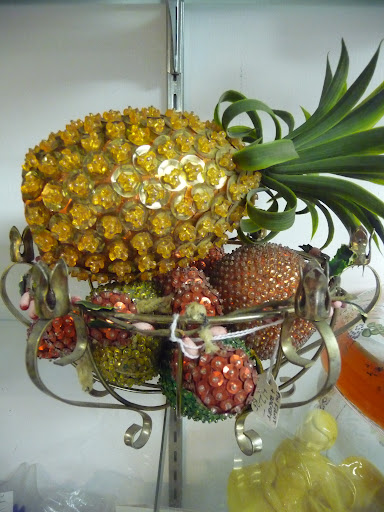 A bowl of sequined fruit—love it!