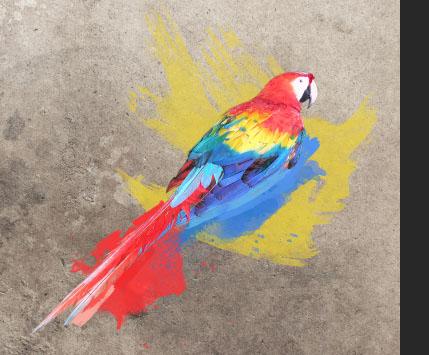 Com manchas de tinta de outras cores