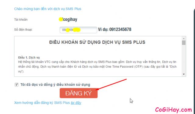 đăng ký số điện thoại cho tài khoản đột kích