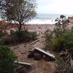 Driftwood seats behind red platform bay (104887)