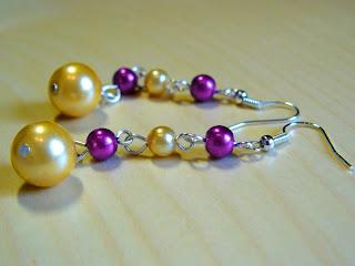 biżuteria z półfabrykatów - fiolet z różem (kolczyki)