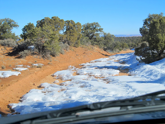 Breaking trail through the snow just north of Hans Flat ranger station