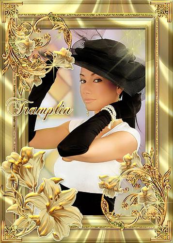 Рамка для Photoshop  –  Золотые лилии