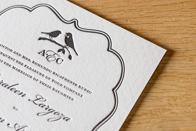 Auraleen & Clinton's Custom Letterpress Wedding Invitations