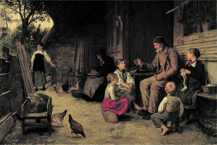 Albert Anker - Grossvater erzählt eine Geschichte 1884