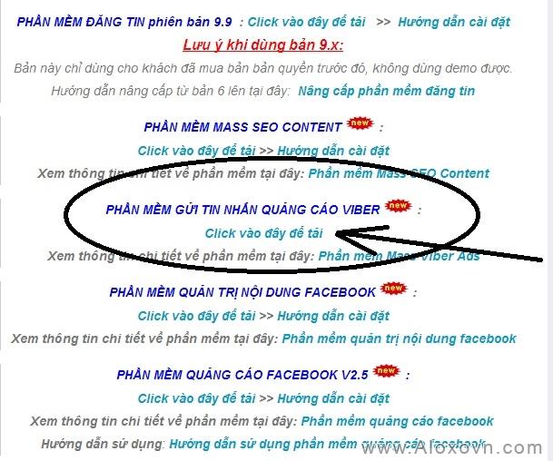 Tải phần mềm quảng cáo Viber trên trang chủ Aloxovn.Com