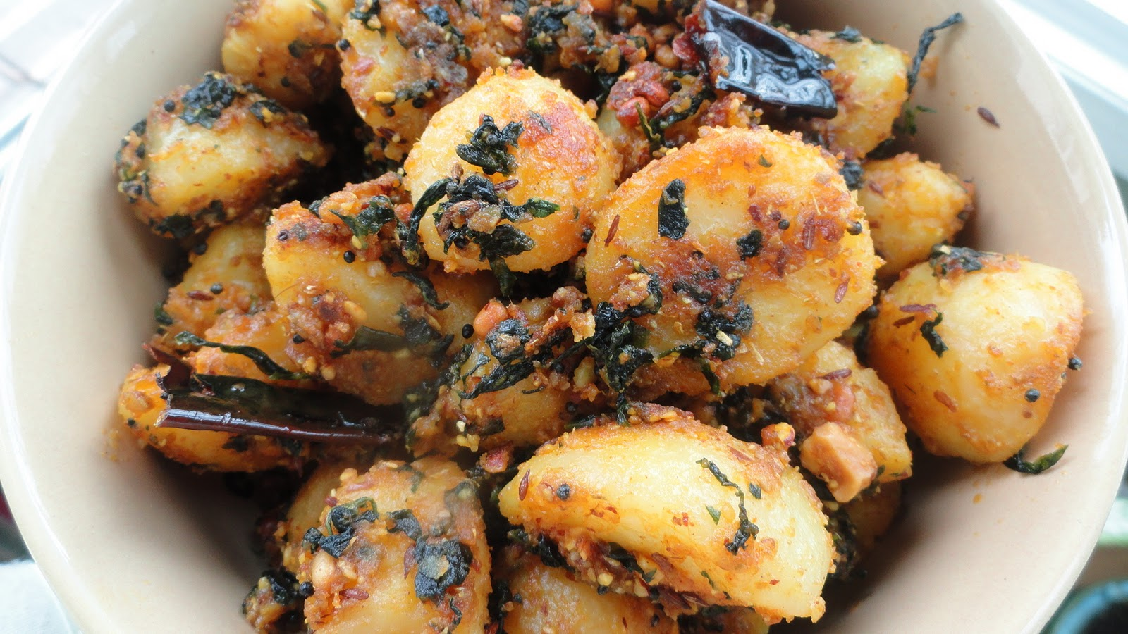 ... : Methi Aloo with Badam / Potatoes with Fenugreek Leaves and Almonds