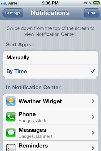 apps under settings tab in iPhone