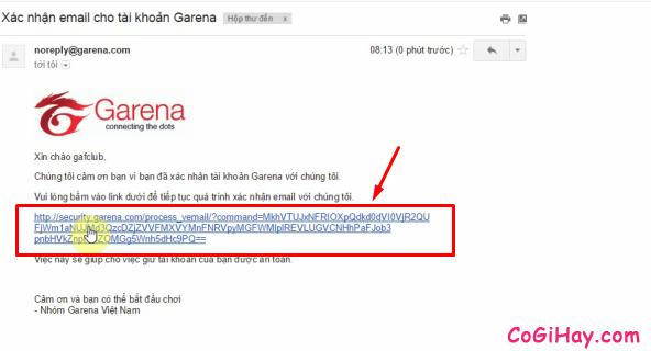 xác thực email garena