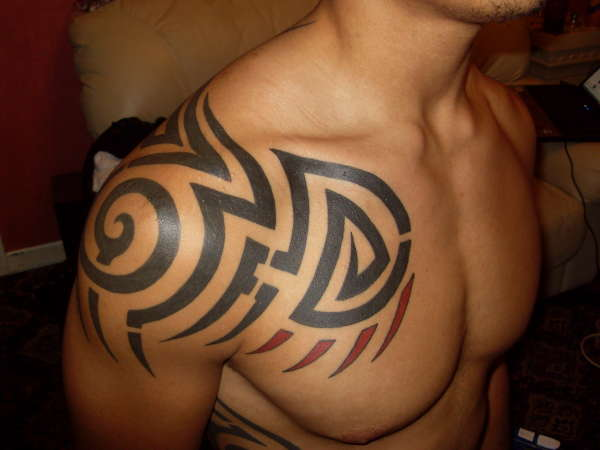 Chest Tribal Tattoo Designs for Men