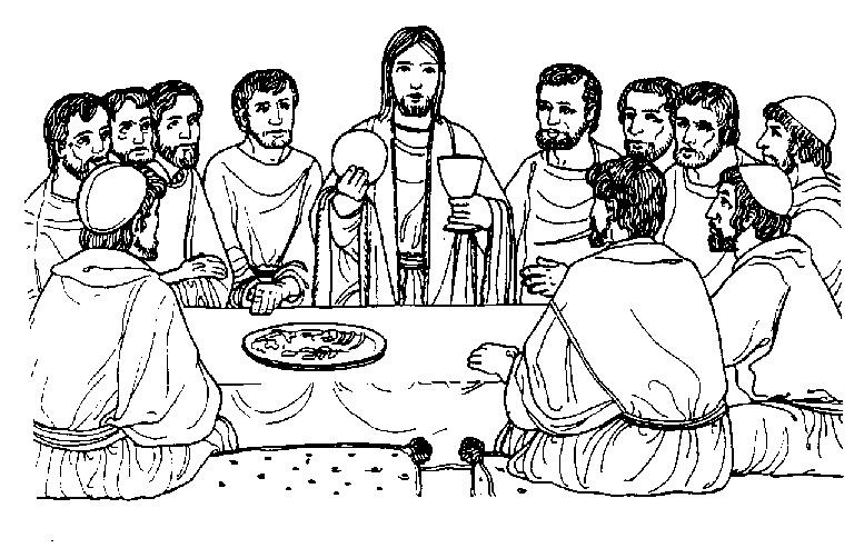 Imágenes de Jesús bendiciendo el pan y el vino para colorear