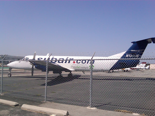 Pet Airways jet landing at Hawthorne Airport in LA.