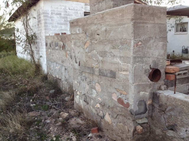 Concrete and boulder wall