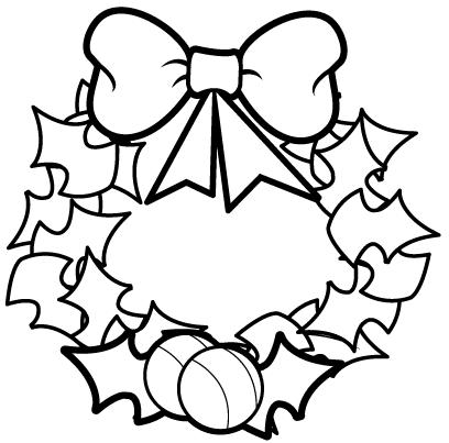 Christmas wreath coloring pages coloring pages for Christmas wreath coloring pages