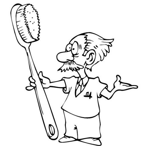 Pinto Dibujos: Dentista con cepillo para colorear