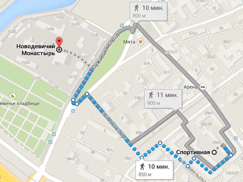 Новодевичий монастырь как добраться