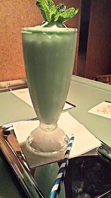 Cocktails at Pépé Le Moko, Grasshopper crafted from Cremes de menthe et cacao, vanilla ice cream, Fernet Branca and sea salt