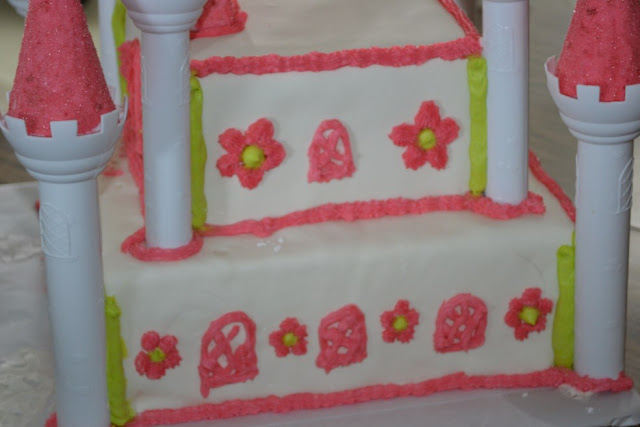pink and green princess castle cake