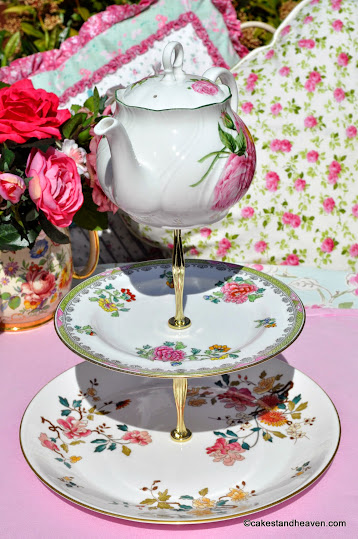 vintage mismatched cake stand with teapot top