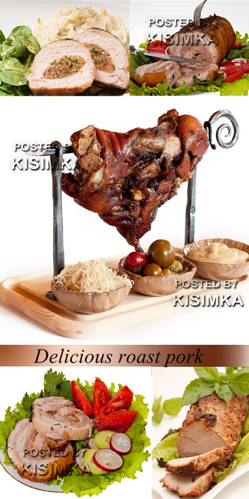 Stock Photo: Delicious roast pork