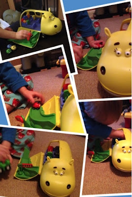 Blake Preston Clement playing with Jungle Junction Hippobus and Beetle bug playset
