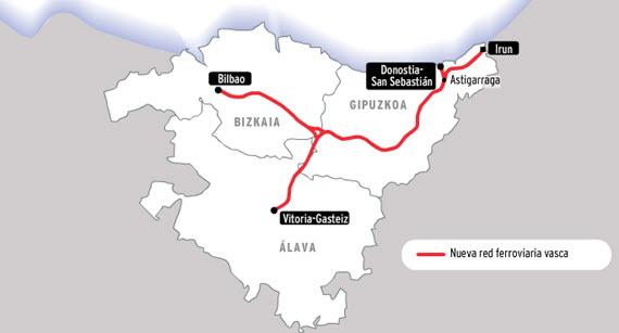 Conexión en Tren de Alta Velocidad entre Bilbao y Vitoria por la Y Vasca