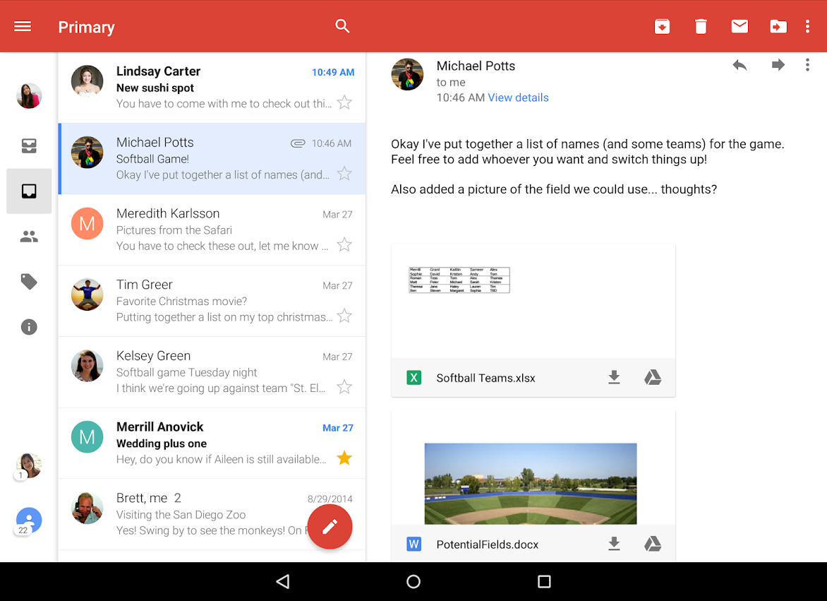 android gmail anhang