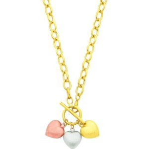 14K Tri Color Gold Heart Charm