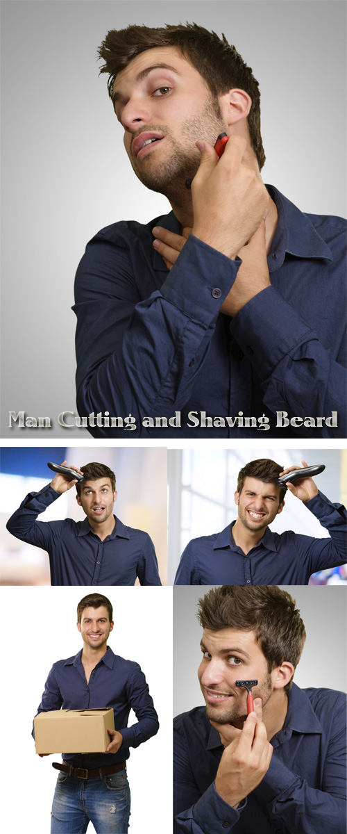 Stock Photo: Man Cutting and Shaving Beard