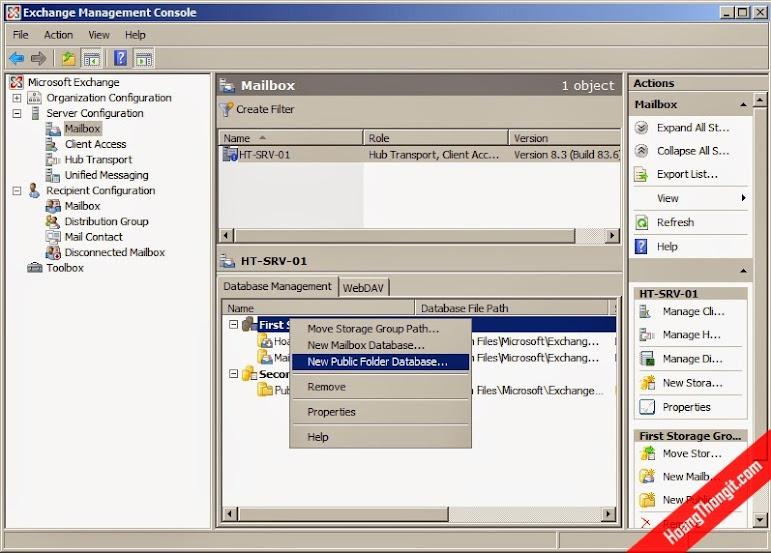 Tạo Public folder database