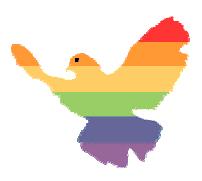 Taube in Regenbogen-Farben.