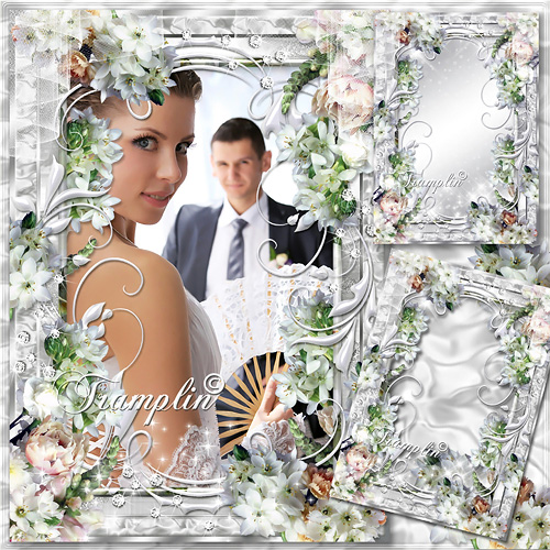 Рамка  для Photoshop  с белыми цветочками - Мы словно два крыла у птицы счастья