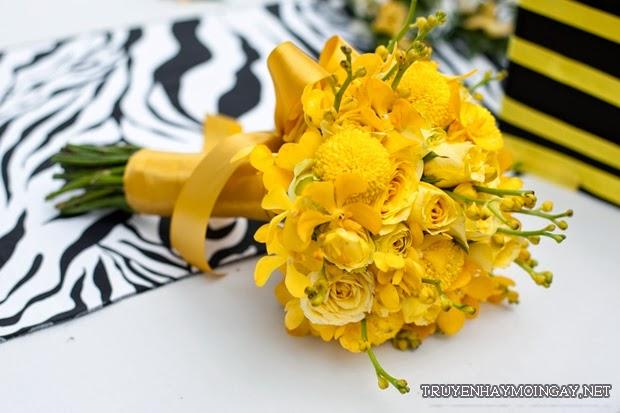 Hoa Cưới Cầm Tay Màu Vàng Ấm Áp Mùa Đông