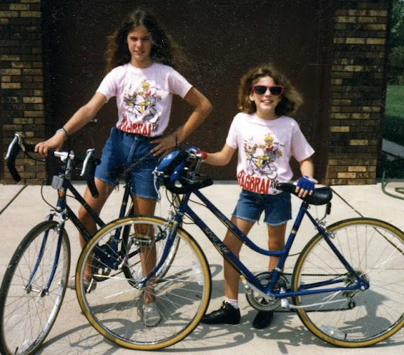 My sister and I showing off our RAGBRAI shirts - we rode for a day.