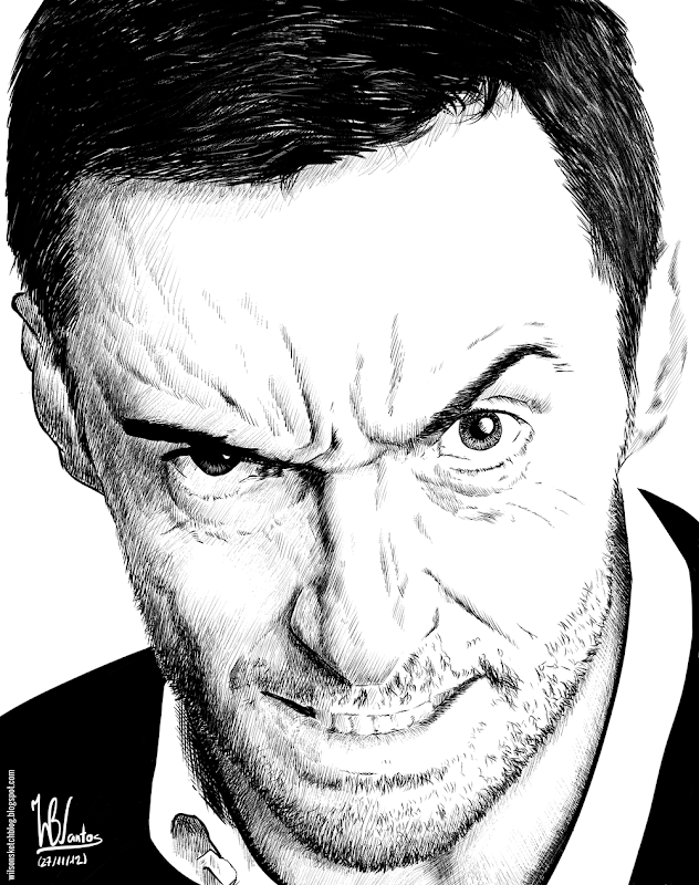 Ink drawing of Hugh Jackman, using Krita 2.5.