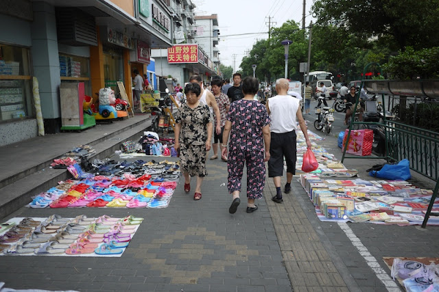 items for sale on the sidewalk in Dachang Town, Shanghai