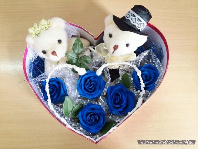 Những bó hoa hồng xanh hình trái tim cực đẹp