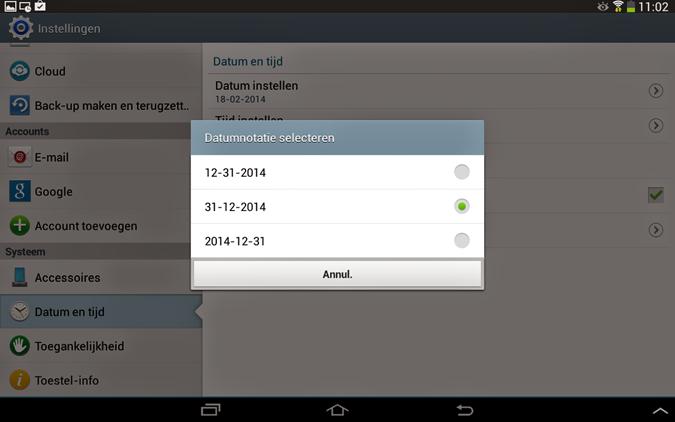 Datumnotatie selecteren van Android smartphone of tablet