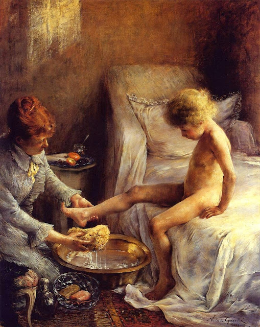 Norbert Goeneutte - Reine Goeneutte Washing the Young Jean Guerard in the Artist's Studio